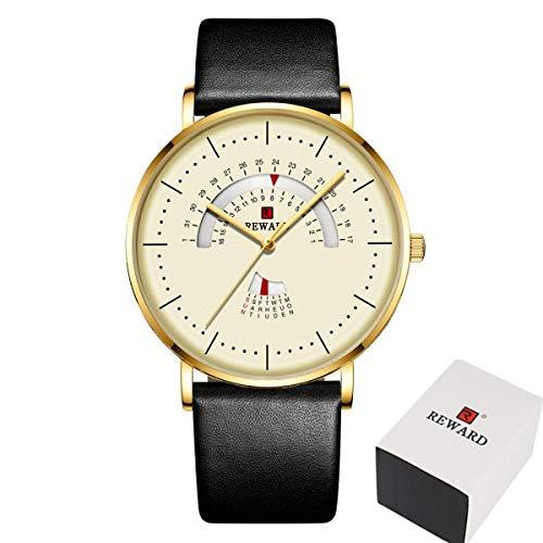 JCCOZ-URG Reloj para Hombres Lujo Impermeable de Acero Inoxidable Malla de Malla Reloj de Moda Fecha de Moda Date Reloj Chico URG (Color : Black 2 Add Box)