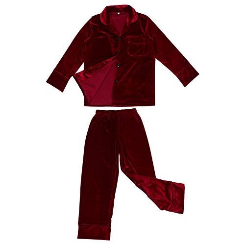 SOIMISS Conjunto de Pijamas de Felpa de Lana para Mujer Ropa de Dormir Abotonada de Manga Larga para Niñas Camisón de Otoño Invierno Bata de Casa