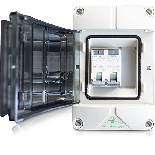 Distribuidor eléctrico para barcos, camping, caravanas, casa y jardín, 2 interruptores Siemens FI LS 30 mA opcionales 6-16 A (FI/LS1 = 13 A   FI/LS2 = 10 A)
