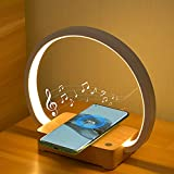 liqiang led night light, music bedside lamp with wireless charger, 4 in 1 touch table lamp,