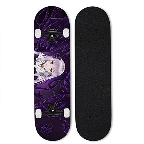 Totots Skateboard al aire libre para Re: Vida en un mundo diferente desde cero: Emilia, patineta de cuatro ruedas, patineta de doble tilt de anime, monopatín de arce, monopatín completo, el mejor rega
