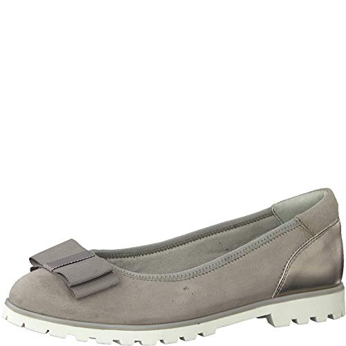 Tamaris Damen Ballerinas 22115-24, Frauen KlassischeBallerinas, Ladies feminin Women's Woman Freizeit leger Flats elegant,Stone,37 EU / 4 UK