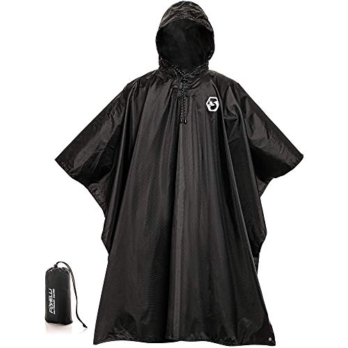 Foxelli Hooded Rain Poncho – Waterproof Emergency Raincoat for Adult Men & Women