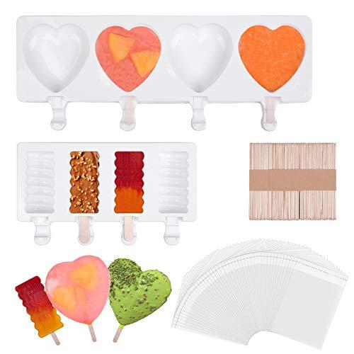 Eisformen Eis am Stiel Silikon Herz Set, Silicone Popsicle Formen, 2 Eisformen mit 50 Sticks und 50 Packtasches für Kinder und Erwachsene, Geeignet für DIY Eis, Desserts, Minikuchen