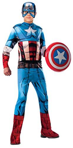 Disfraz oficial de Marvel Comics Diseño exclusivo de Rubie's Disfraz de Capitán América que incluye Jumpsuit con detalles de músculos impresos, accesorio para la cabeza