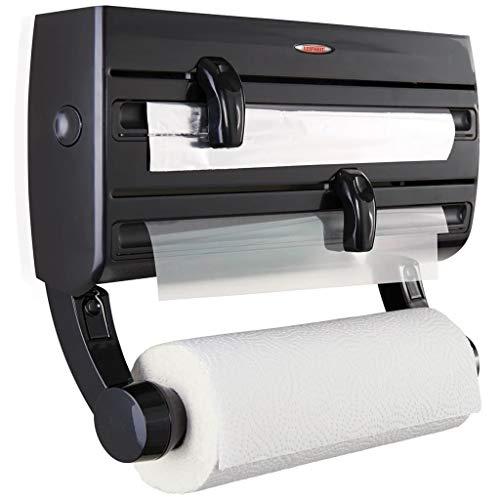 Leifheit Portarrollos de pared Parat F2 negro, sujeta rollos de cocina con especiero, portarrollos negro para papel de aluminio, de cocina y film