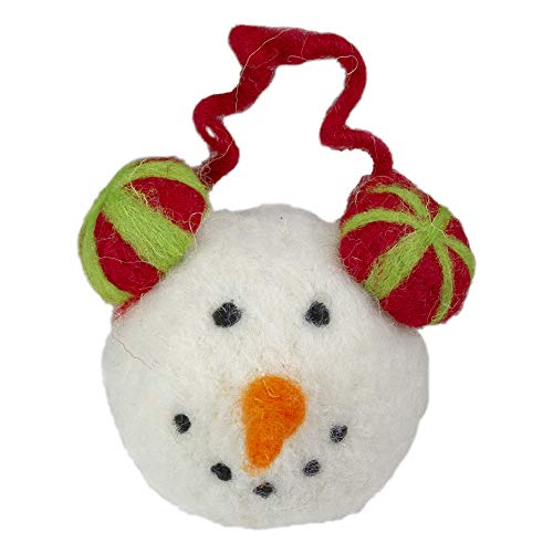 TII Collections 4' Snowmans Face Wearing Red and Green Striped Earmuffs Christmas Ornament