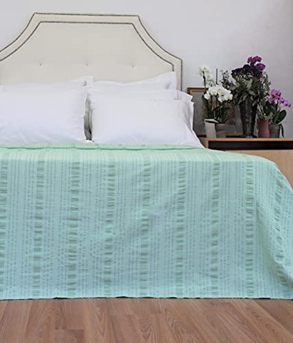 Seersucker Tagesdecke für Queensize-Betten, solide, Grün