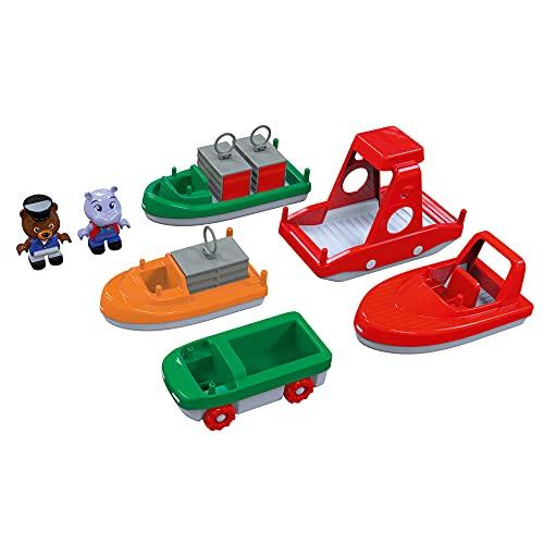 AquaPlay 8700000261 - BoatSet - Zubehör für AquaPlay Wasserbahnen oder für die Badewanne, 4 Booten, 1 Amphi-Lorry und Bo und Wilma, für Kinder ab 3 Jahren