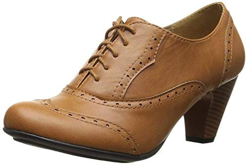 Refresh Leatherette Lace up Oxford Chunky Booties Women Ankle Heels Tan, 10
