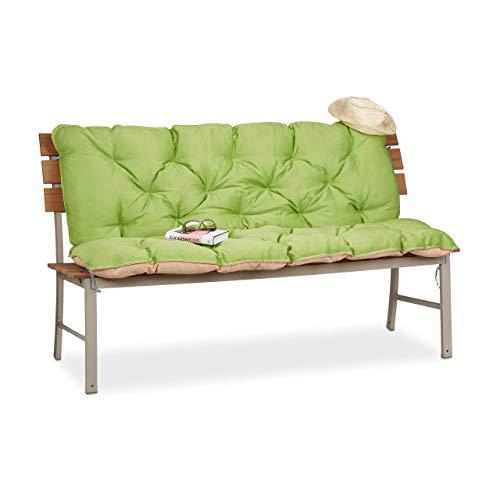 Relaxdays Gartenbank, Bankauflage mit Rückenlehne, Sitzauflage und Rückenpolster Auflage mit Rückenteil für Bank, Grün, 54,3x46x25,5 cm