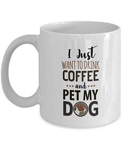 N\A Solo Quiero Beber café y acariciar a mi Perro - Jack Russell Terrier - Taza de café de cerámica Blanca, Taza dueño del Perro, Amante, mamá, papá