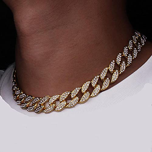 WQZYY&ASDCD Collar De Mujer Cadena De Clavícula Cubana Estilo Hip Hop Collar De Diamantes De Imitación De La Calle Europea Y Americana-8Inch_Gold_