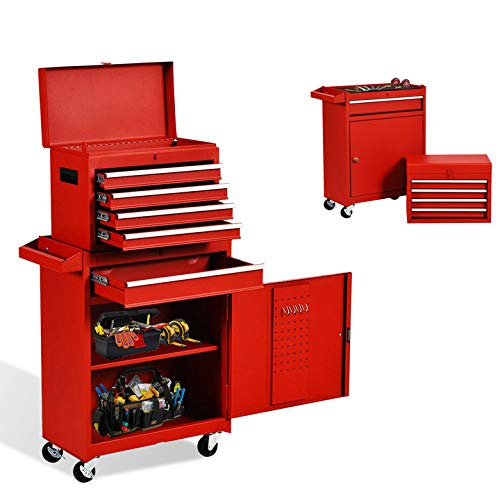 5-Drawer Tool Chest Tool Box,Rooling Tool Chest with Wheels,Tool Cabinet with Lock,4 Movable Rollers Tool Chest with 5 Drawers,Large Capacity Tool Storage for Garage, Warehouse. (5 Drawers-Red)