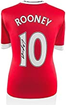 Wayne Rooney Signed Manchester United Shirt 2015/2016 Number 10 - Fan Style Num - Autographed Soccer Jerseys