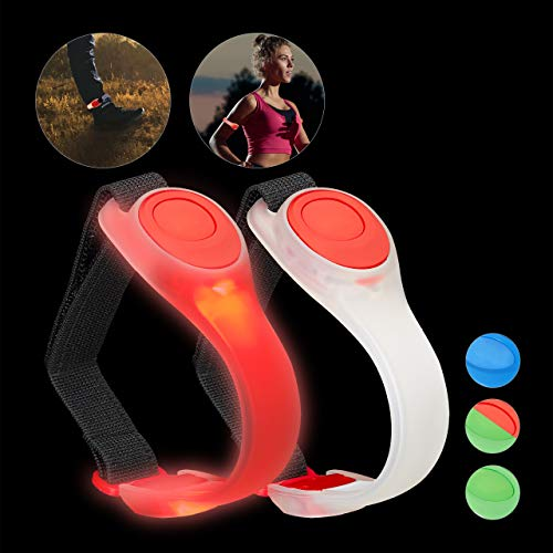 Relaxdays Brazalete LED, Pack de 2, Pulsera Luz para Running, Reflectante de Seguridad para Correr, Poliéster-PVC, Rojo