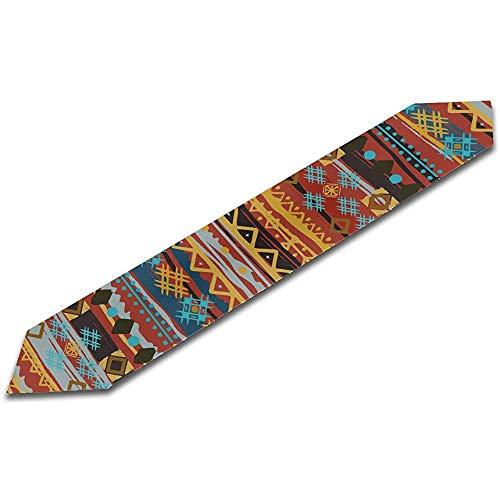 GABRI 13X90 inch Tischläufer Hochzeit ethnischen Boho Nahtlose Muster Tribal Art Print Billardtisch Läufer Ostern Läufer Tisch