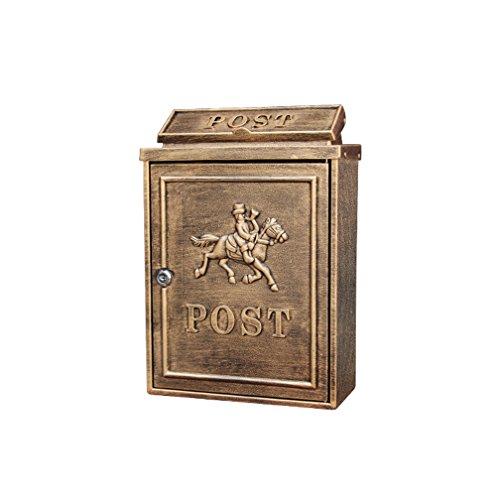 MXD Briefkasten europäischen Briefkasten im Freien wasserdichte Villa Postfach Wand mit Schloss Postbox Garten kreative Briefkasten Antik Kupfer Mann zu Pferd Muster