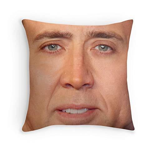 Jupsero Fundas de Almohada Nicolas Cage Face Throw Pillow V para sofá Sofá Sala de Estar Cama Decorativa (Cuadrado 26x26)