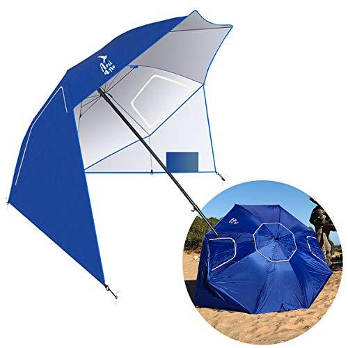 Amiaire Sombrilla de Playa - Sombrilla de Playa de 180 cm diámetro– 3 Posiciones - Protección UV, antiviento y...