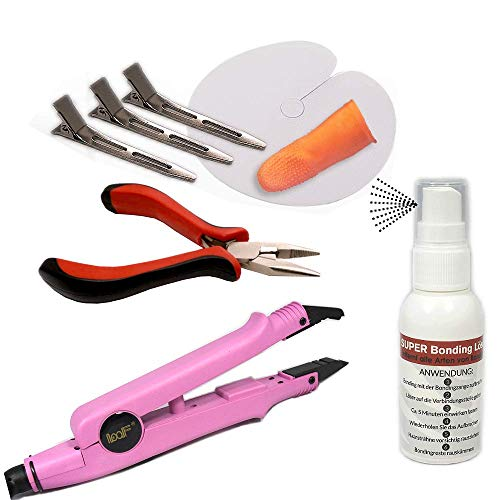 RemyHaar.eu - Haarverlängerungs Set 8 Teile SUPER Bondinglöser + Wärmezange + Bondingzange + Zubehör Bonding Extensions Anbringen & Entfernen - Pink, Set Modell 611