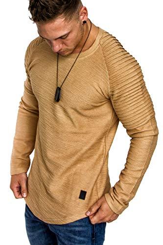 Amaci&Sons Oversize Vintage Herren Pullover Biker-Style Hoodie Sweatshirt Crew-Neck 6069 Beige M