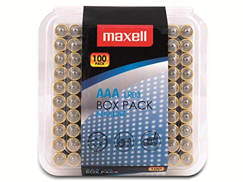 Maxell 790410 - Confezione da 100 micro batterie alcaline LR03 tipo AAA