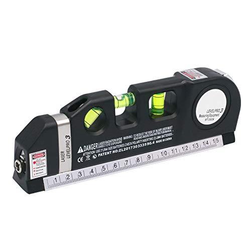 RUIZHI Laser Wasserwaage,Mehrzweck Laser Werkzeuge 2.5 m Laser Nivellierwerkzeug mit metrischen Linealen für Bilderhängeschränke, Fliesenwände