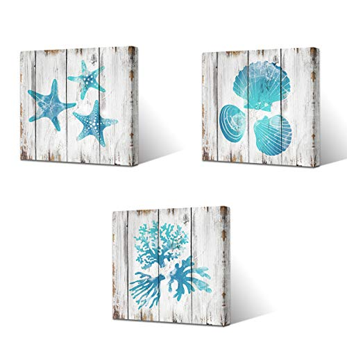VVOVV Wall Decor Ocean Seashell Coral Starfish Picture Bathroom Wall Decor Art Prints on Canvas Wood Texture Background Teal Blue Ocean Themed 12'x12'x3Panels, Framed