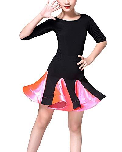 DianShaoA Mädchen Latin Ballett Kleid Party Dancewear Ballsaal Samba Performance Kostüme Dancewear Rose 1 150