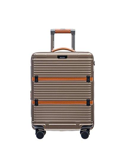PUCCINI® Premium Hartschale Koffer Oxford 2018 aus Polycarbonat · TSA Zahlenschloss, Leder Namenschild, 4-Rollen Reisekoffer S/L/XL/Set (Gold (6), Kabinenkoffer)