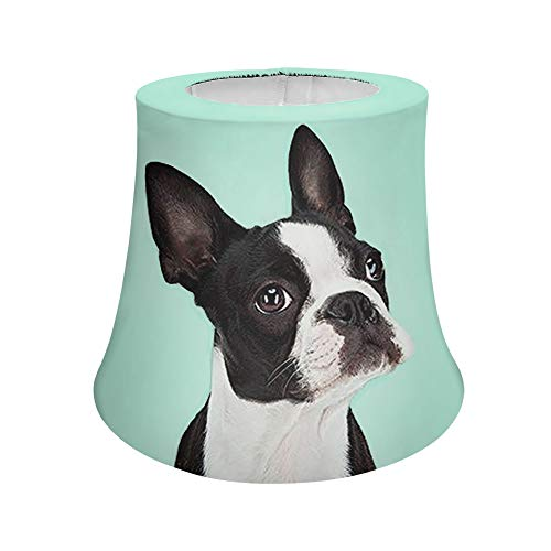 Cozeyat Modern Trendy Decorative Handmade Lamp Shade for Living Room,Bedroom,Boston Terrier Pattern Lamp Shade with Polyester Fabric Lampshade for Table Lamp and Floor Light
