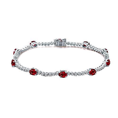 Beydodo Pulseras Mujer Plata Rojo,Pulsera Oro Blanco 18k Oval Rubí 3.2ct Longitud 16.5cm