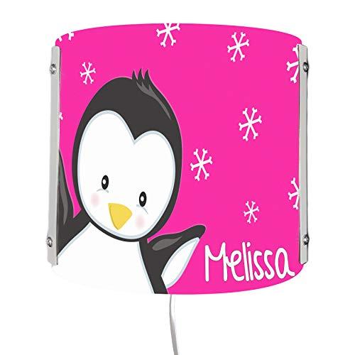 CreaDesign WA-1121-36, Pinguin pink, Kinderzimmer Wandlampe personalisiert mit Namen, Nachtlicht/Schlummerlicht für Steckdose, E14, 22 x 22,5 x 85 cm