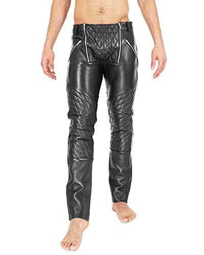 Bockle® Zimmermann gesteppt leren broek mannen Leren jeans Tube tube skinny slim fit heren