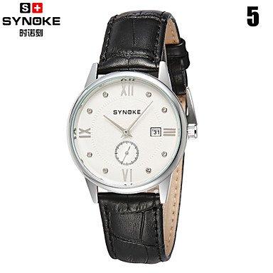 Schöne Uhren, Synoke Männer Runde Zifferblatt Uhr Lederband Japanische Quarz-Wasserdichte Art und Weisearmbanduhr (Verschiedene Farben) (Farbe : 5#)