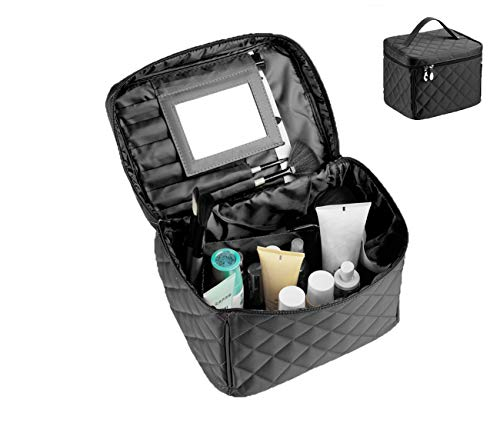 EN'DA big size Nylon Cosmetic bags with quality zipper single layer travel Makeup bags (Black) by EN'DA professional