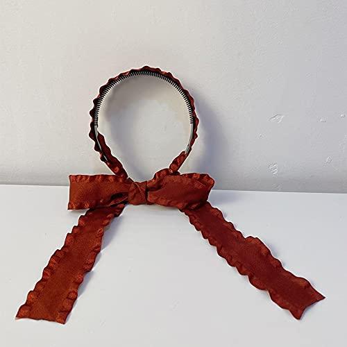tggh Diadema de lazo para el pelo coreano con bisel, diadema para mujer, diadema, diadema, diadema, diadema vintage (color: rojo)