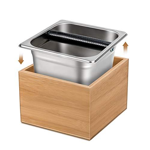 Wemk Abklopfbehälter für Siebträger, 3-teiliges Set Abklopfbehälter für Kaffeesatz - Bambus Case, Edelstahl Knock Box & Silikonbeschichteten Klopfstange, Das perfekte Zubehör für Siebträgermaschine