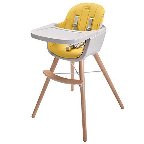 HYL Hochstuhl Baby Hochstuhl, Kinder Haushalt Esszimmerstuhl, Massivholztisch Hocker, Multifunktions, Kindersitz (Color : Yellow)