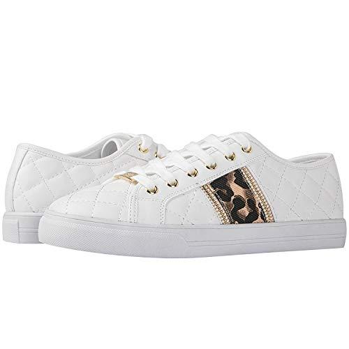 GLOBALWIN Women's White/Plaid Walking Shoes Low Cut Comfotable Fashion Sneakers 5.5M