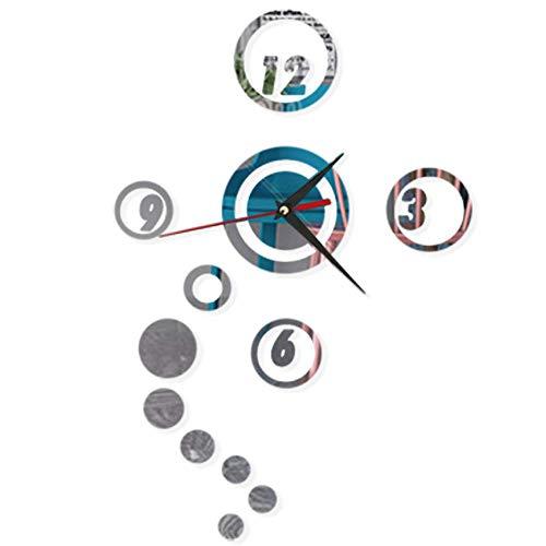 Reloj de pared con espejo circular, 3D sin marco, acrílico silencioso, ajustable,...
