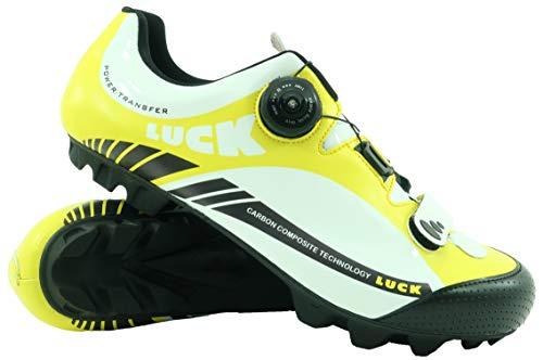 LUCK Zapatillas de Ciclismo Pro 0.17 MTB, con Suela de Carbono de 4mm y Cierre rotativo de Alta precisión para una sujeción (38 EU, Amarillo)