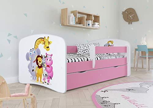 Wonderhome Kids Cama Infantil Rosa con Colchón Incluido 70x140 80x160 80x180 cm Cama Infantil con Barandilla de Seguridad Anticaída, Cajón Desmontable y Somier - para Niños y Niñas - Zoo - 140x70