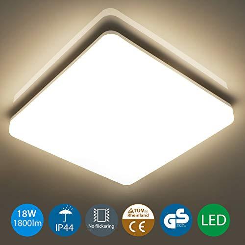 Oeegoo 18W Deckenlampe, IP44 Wasserfest Badlampe, 4000K LED Deckenleuchte, 1800lm led Lampe ideal Für Badezimmer Balkon Flur Küche Wohnzimmer, Badezimmerlampe 28x28x4.8cm