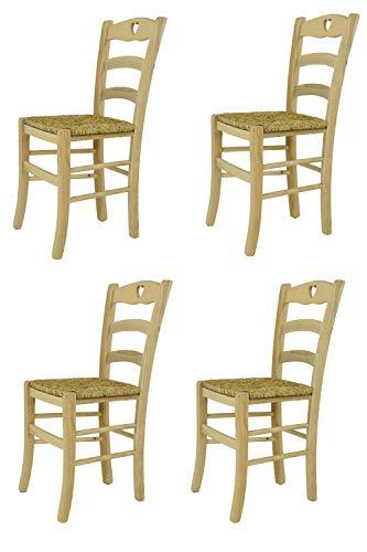 Tommychairs - Set 4 sedie Classiche Cuore per Cucina Bar e Sala da Pranzo, Robusta Struttura in Legno di faggio Levigato, Non trattato, 100% Naturale e Seduta in Paglia