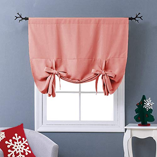 NICETOWN Coral Tie-Up Shade Curtain - Window Treatment Balloon Valance Drapes for Kitchen Window (Rod Pocket Panel, 46 inches W x 63 inches L)