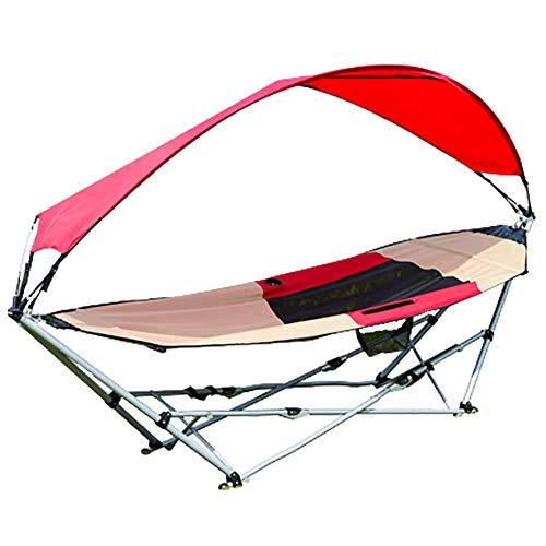 Opvouwbare draagbare hangmat met standaard en luifel, side cup houder ontwerp, opvouwbare draagbare hangmat, enkel, voor outdoor camping strand tuin binnenplaats interieur, katrol aan de onderkant van de opbergtas