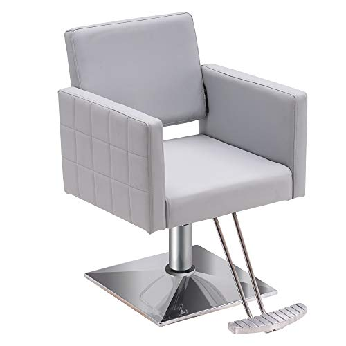 BarberPub Salon Chair for Hair Stylist, All Purpose Hydraulic Barber Styling Chair, Beauty Spa Equipment 8821 (Grey)