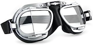 Halcyon Nannini Rider italiano moto occhiali con montatura in marrone in pelle e metallo cromato